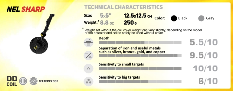 NEL Sharp 5x5 - technical characteristics, parameters, depth, discrimination, size, weight.